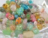 Czech Glass Bead Assortment, Lamp Work, Decorative Loose Mix - ENGLISH COTTAGE GARDEN - Pinks, Aqua, Plum, Yellow,Green, Hand Selected