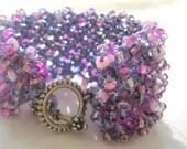 GRAPE, Lavender, Pink , Purple Soft Hand Knit beaded Bracelet Cuff, Artisan Fashion Style Original by Sereba Designs on Etsy