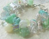 Beach Wedding Jewelry - Sea Foam, Aqua, Blue Green,  White, Bridal, Bridesmaid Statement Bangle Bracelet, OCEAN SIDE, Sereba Designs Etsy
