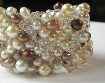 Statement Wedding Cuff Bracelet, Extra Wide, WHITE CHOCOLATE PEARL, Coffee Bean, Champagne, Ivory, Cocoa, Brown, Fresh Water, Crystals