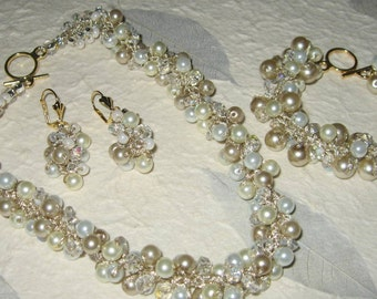 Wedding SET Bridal Jewelry - TRIO BLISS- Iced Champagne Ivory Pearl, Crystal, Necklace - Bracelet - Earrings, Hand Knit by Sereba Designs