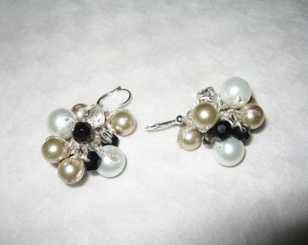Black Tie  Affair, Bauble Cluster Earrings, Champagne, Soft White, Smokey Quartz Crystal, Hand Knit Original