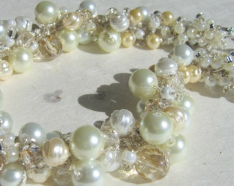 Pearl Crystal Statement Bridal Wedding REGENCY Style Necklace - Ivory White,  HONEY PEAR,  Hand Knit Jewelry Art Whirls of Pearls Cluster