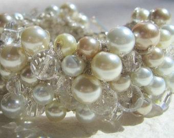 Wedding Bracelet Cuff,  Fiber Art Hand Knit, Champagne, White, Ivory Pearl Crystal, VANILLA  ICE LATTE, Sereba design
