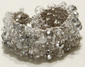 Bridal Jewelry, WINTER WONDERLAND Wedding, Sparkling  Ice Quartz Crystal Soft Hand Knit Cuff Bracelet  by Sereba Designs