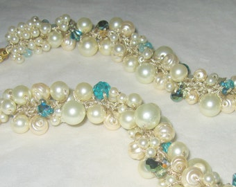 Blue Green Aqua Teal DESTINATION Bridal Beach WEDDING Necklace, Crystal, Creamy Ivory, Hand Knit Pearl Cluster