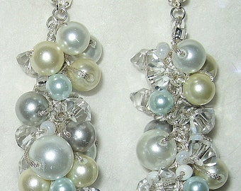 Something Blue Cascading Dangle Pearl Crystal Wedding Earring - SILVERY BLUE MOON -  Spiral  Cluster  Hand Knit Statement