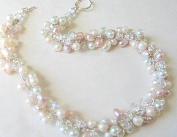 Fresh water SOFT Blush Petal Rose PINK Pearl CHIFFON Crystal Bridal Wedding Necklace, Romance, White, Ivory, HandKnit Twist Artisan Original