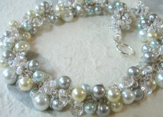 Classy Bride SILVERY BLUE MOON Bridal Wedding Necklace, Ivory, Sky, Robin, White, Silver Grey Pearls, Crystal, Hand Knit Cluster Necklace
