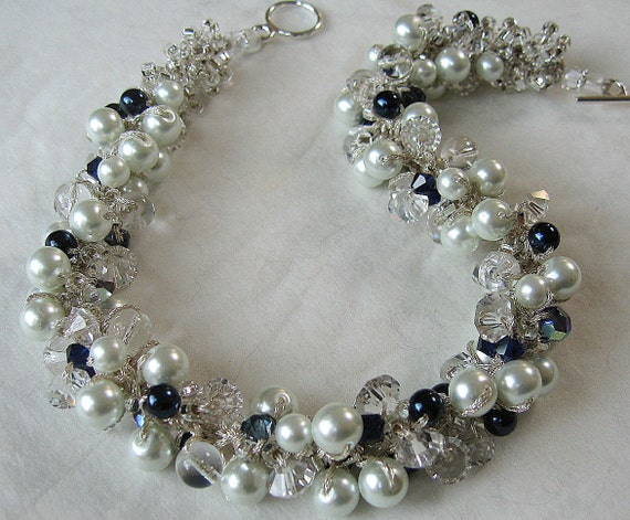 Elegant MIDNIGHT NAVY Sapphire Blue Bridal Wedding Jewelry Necklace, Crisp White Pearls, Sparkling Crystal, Hand Knit Pearl Cluster