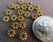 Daisy Spacers 50 5mm Antique Gold Daisy Spacers Gold Findings Gold Beads Gold Spacers Flower Beads Metal Beads Antique Gold Beads