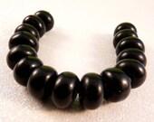 Black Lampwork Beads Glass Beads Lampwork Rondelles Black Beads Black Rondelles Black Glass Beads Spacer Beads Black Spacer Beads