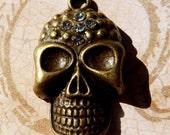 Brass Skull Pendant Brass Pendant Rhinestone Pendant Skull Bead Brass Bead
