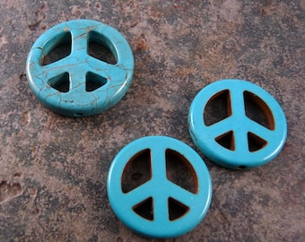 Turquoise Beads Peace Sign Beads Gemstone Beads