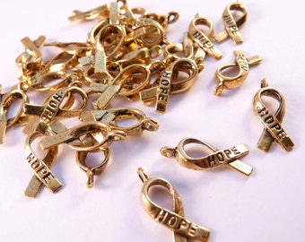 Hope Ribbon Charms Gold Hope Ribbons Gold Findings Gold Beads Gold Ribbons Metal Beads Metal Charms Gold Charms