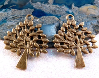 Tree Charms Antique BrasTree Brass Findings