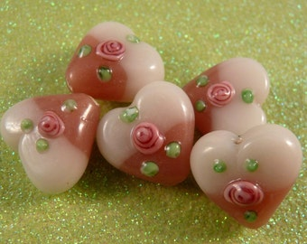 Lampwork Beads Heart Beads Pink Beads Glass Beads Pink Lampwork Beads Pink Hearts Flower Beads White Beads Green Beads