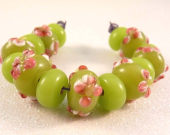 Lampwork Beads Lime Pink Lampwork Rondelles Lampwork Spacers Glass Beads  Green Beads Flower Beads
