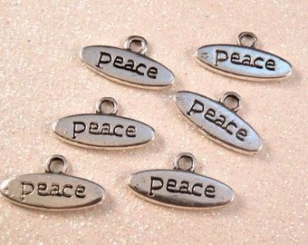 Peace Charms Silver Charms Silver Findings Peace Beads