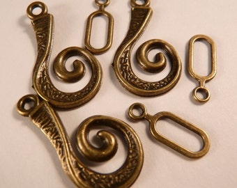 Toggle Clasps Brass Toggle Clasp Brass Clasp Brass Findings Antique Brass Swirls Toggle Clasp Sets Brass Beads Metal Beads