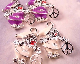 Christmas Charms Enamel  Peace Sign Santa Claus Peace Sign Beads Santa Beads Silver Findings Holiday Beads