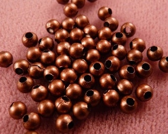 Copper Beads 100 3mm Antique Copper Beads Copper Findings Metal Beads Round Beads