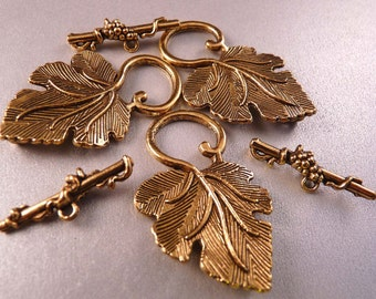 Gold Toggle Clasp Leaf Clasp Gold Findings Gold Clasps Gold Beads Antique Gold Clasp Metal Beads Gold Beads