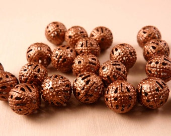 Copper Filigree Beads 20 8mm Copper Beads Copper Findings