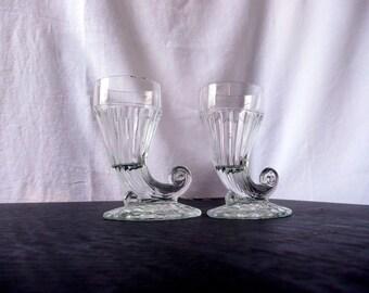 Pressed Glass Cornucopia Pair -- Antique