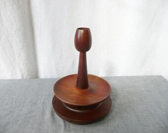 Turned Wood Cruet Set and Candle Holder Candlestick Japanese Midcentury Teak
