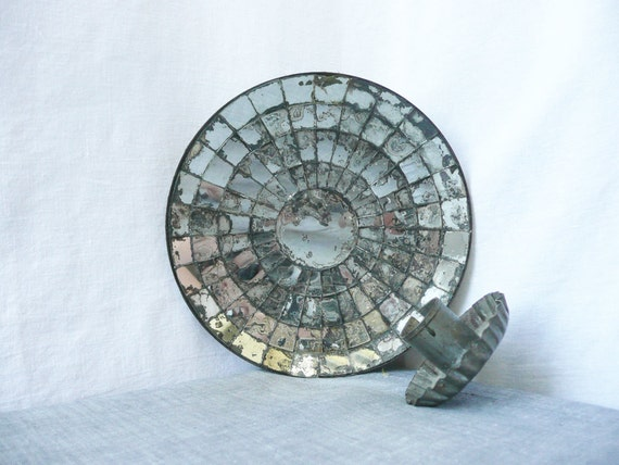Concave Mirror Mosaic Sconce -- Mercury Glass, Toleware Tinware