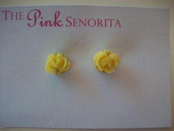 Yellow Rose Bud Earrings