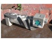Sweet grey, charcoal  and white concrete menorah