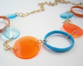Upcycled Vintage Teal and Tangerine Necklace