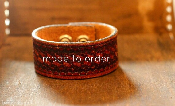 brown leather cuff with basket weave pattern...made to order