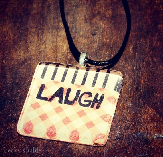laugh glass pendant necklace