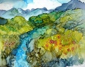 Alcohol Ink Landscape Print by Maure Bausch