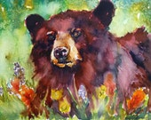Wildflower Bear Watercolor Print by Maure Bausch
