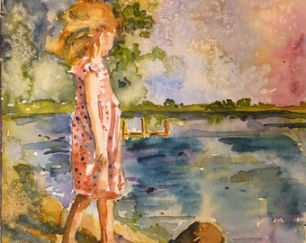Distant Shores Watercolor print by Maure Bausch