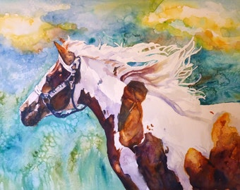 Into the Wind Watercolor Art Print by Maure Bausch