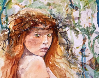 The Forest Dweller Watercolor Print by Maure Bausch
