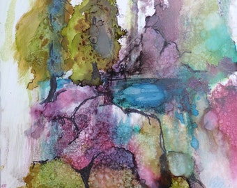 Colorful Colorado Alcohol Ink print by Maure Bausch