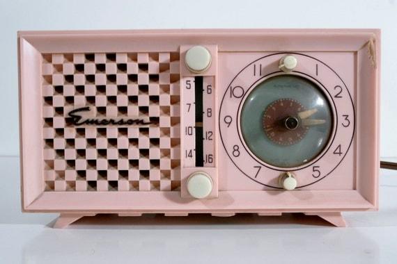 Mid-century Modern Pink Emerson Radio and Clock