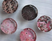 Set of 5 Sweet round glass magnets strong