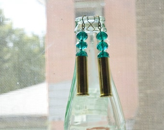Recycled Casing and Turquoise Bead Earrings