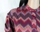 VINTAGE 70's Zig Zag BLOUSE Sears small hippie boho secretary glam