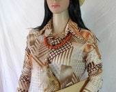 1970's JERSY SHIRT by Kennington of California medium blouse disco glam