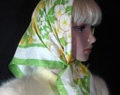 Floral SCARF by SW Kent AVON square yellow green