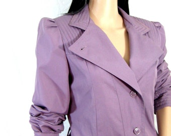 80s PLUM TRENCHCOAT Jean Nicole future quilted puff sleeves 9/10 medium