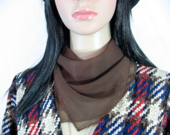 VERA SCARF Brown Made in Japan 1970's hippie boho glam